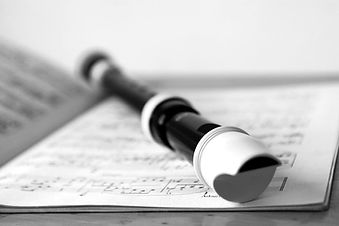 Recorder with sheet music