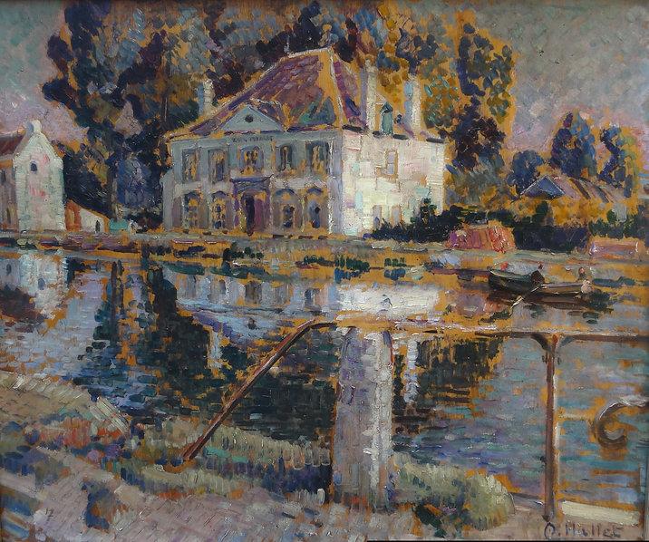Hallet André  (1890-1959) – Huile sur panneau – La maison du Passeur – Wilsele – Lou vain