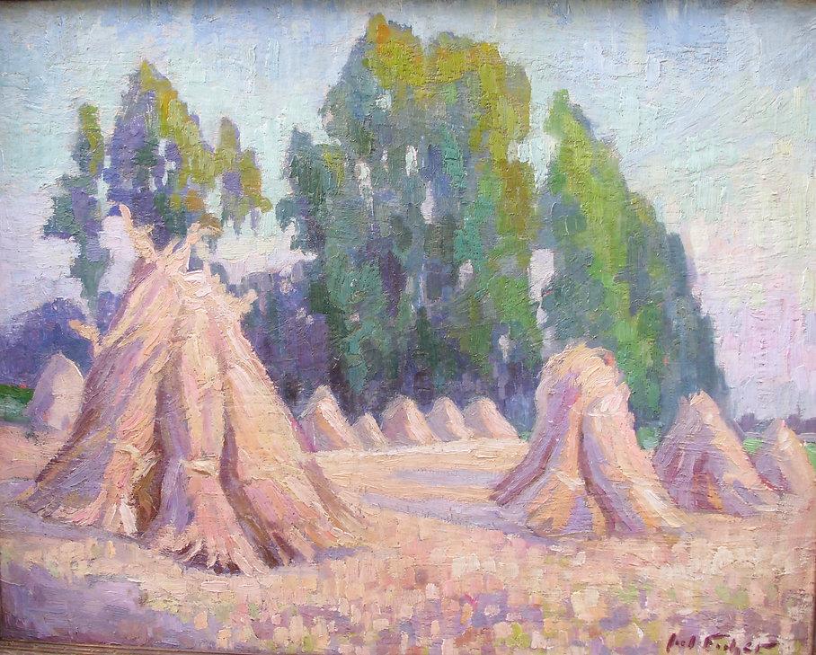 Ficher Julien (1888-1989)– Huile sur toile – foins – école belge – 54x68cm.JPG