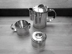 3 pièces à café - orfèvre Christofle - art déco - création Luc Lanel pour paquebot Normand