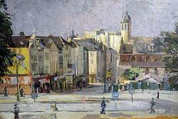 Gerard Maud (1915-2013) – Huile sur carton – Eglise de la Madeleine – école belge – 55x37c