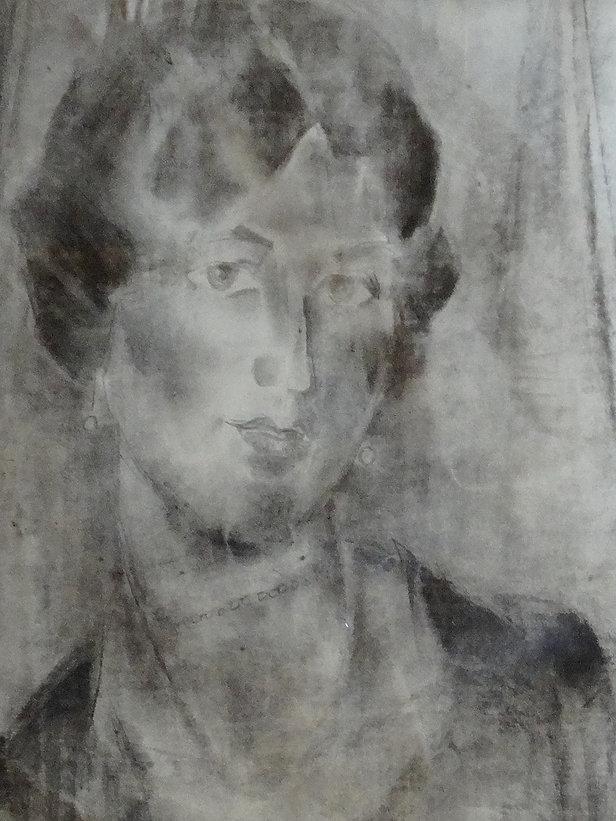 Non signé – Fusain – portrait de femme -– Attribuéà  Georges Creten – 58x43cm .JPG