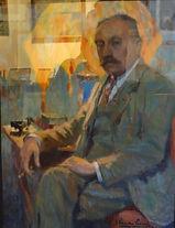 Van de Leene (1887-1962) – aquarelle sur papier – portrait d'homme – école belge – 49,5x65