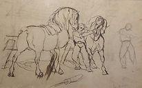 Verwee Alfred (1838-1895) – dessin- école belge – chevaux – 42.5x27cm.jpg