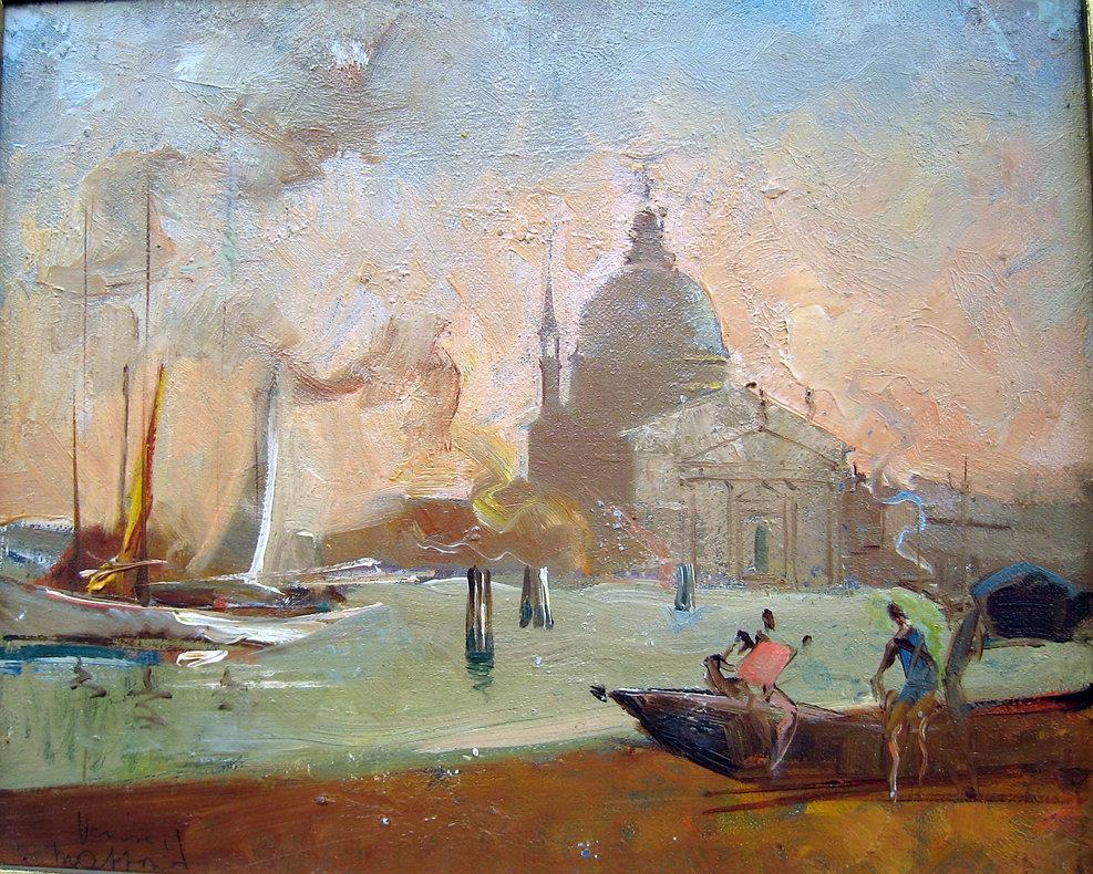 Massonet Armand (1892-1979) – Huile sur carton – Venise – école belge – 27x22cm (2).jpg