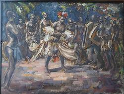 Non signé – Scène africaine – Huile sur papier – circa 1930 – Probablement André Hallet  -