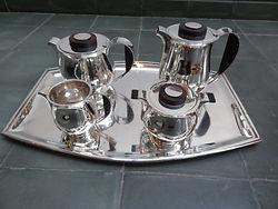 Service à café et thé sur plateau -argent - art déco - orfèvre Delheid.JPG