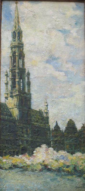 Henderyckx Léopold (1888-1960) – Huile sur toile – Grand place de Bruxelles – école belge
