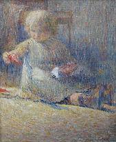 Colbrandt  ( 1879-1959) – Huile sur toile – Enfant – école belge-  50x60cm.JPG