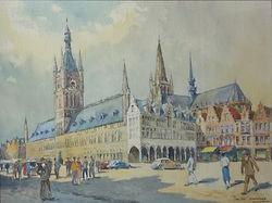 Van Nieuwenhuyse  Jean (1903-1982) – aquarelle – Marché devant la cathédrale d'Ypres – éco