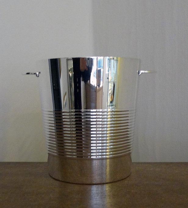 Seau à champagne art déco - métal argenté - orfèvre français Christofle.JPG