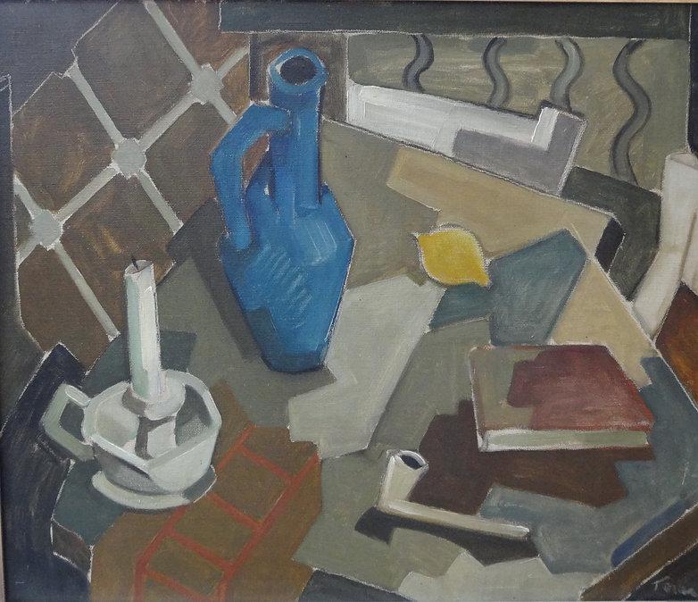 Teraa Piet (1917-1996) - Huile sur toile - Nature morte à la pipe - école hollandaise 1.JP