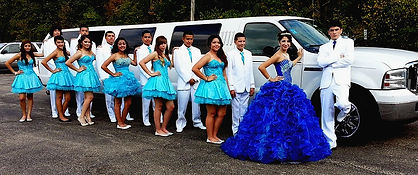 Teenagers in a Stretch Suv Limo for a Quinceaners Pic