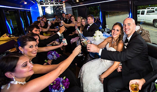 Wedding Party in a Party Bus