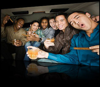 Guys in a Limo for a Bachelor Party Pic