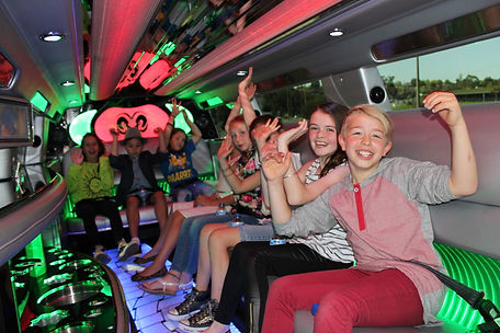 Kids in a Stretch Limo For Birthday Party Pic