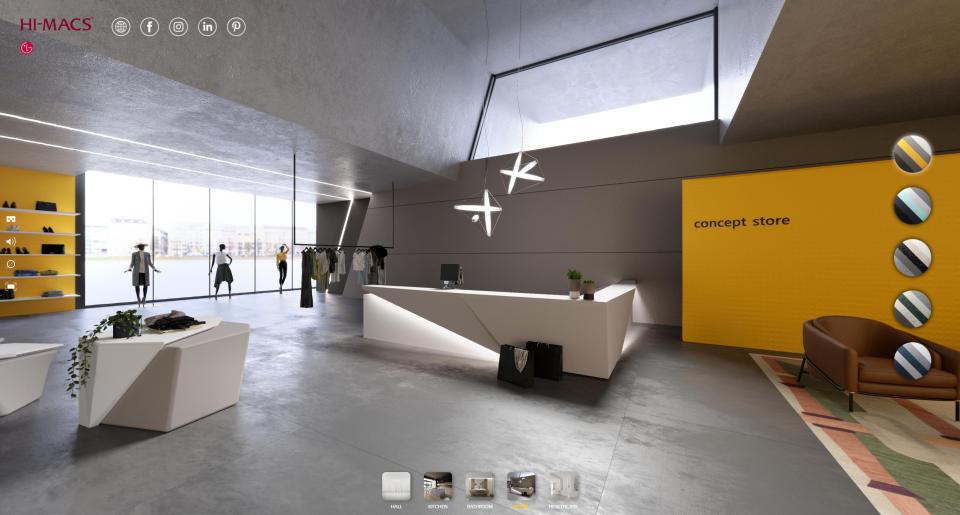 HI-MACS® Interaktyvus salonas virtualioje erdvėje