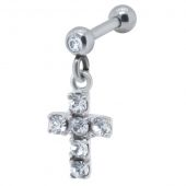 BARBELL STRASS PENDANT CROIX