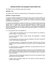 Proposed Legislation to Amend the Alhambra City Charter: Alhambra Election and Campaign Finance Refo