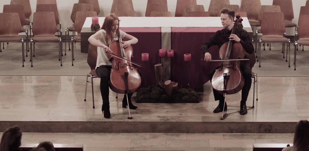 Antonia Raißle, Cello. Rainer Gleim, Cello. Konzert Riederich