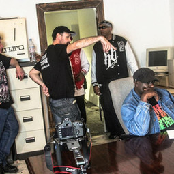 BTS shot of the team filming music video 'This is the Time' in 2013 for American hip hop legends Donald-D and Lenell Brown.