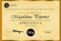 Aprentice II Certificate - Magdalena Pop