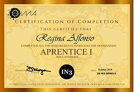APRENTICE I Certificate - Regina Affonso
