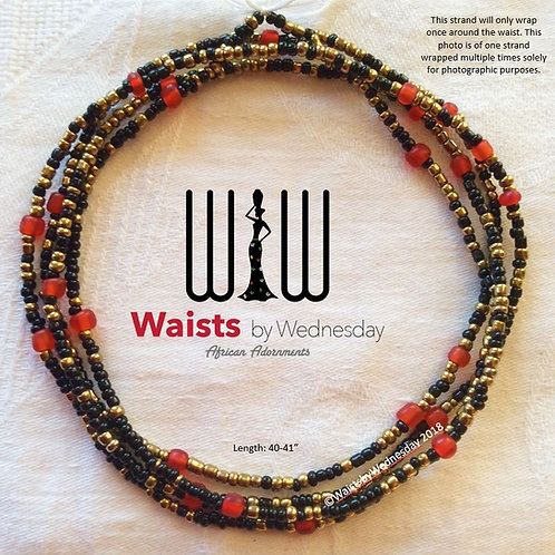 Noni Red Black & Gold African Waist Beads