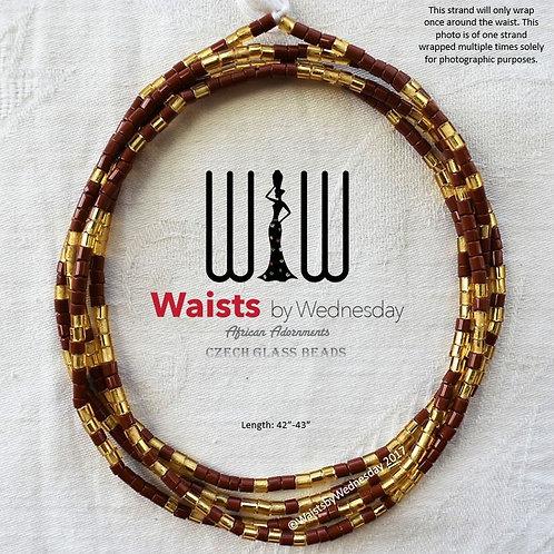 Brown & Gold Czech Waist Beads