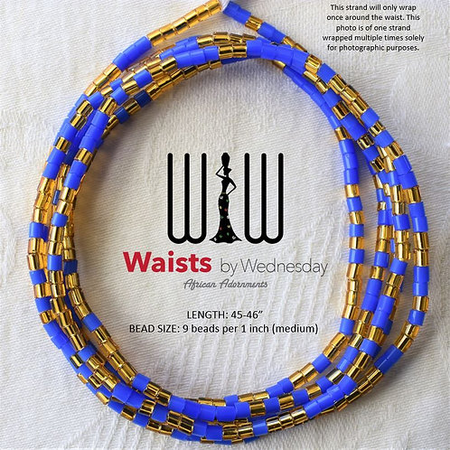 Blue & Gold Czech Waist Beads