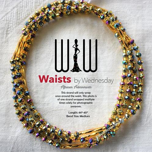Rainbow & Gold Radiance African Waist Beads