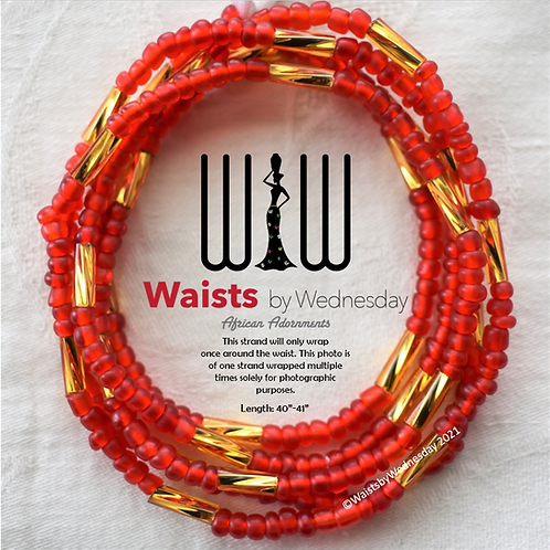 Nalo Frosted Red Brilliance African Waist Beads