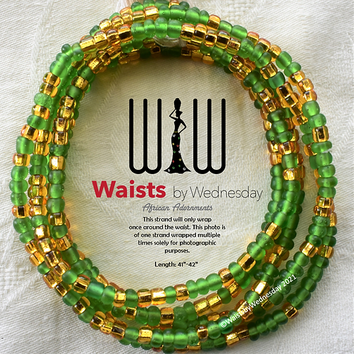 Folade Frosted Green African Waist Beads