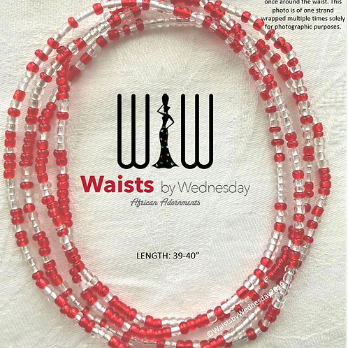 Red & Clear African Waist Beads
