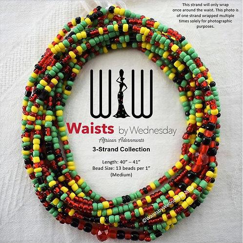 3 Strand Rasta African Waist Beads