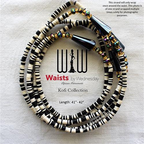 Black & White Kofi African Waist Beads