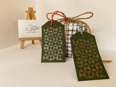 Dandan Design -Lino Print Gift Tags