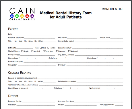 Cain Orthodontics Adult Medical History