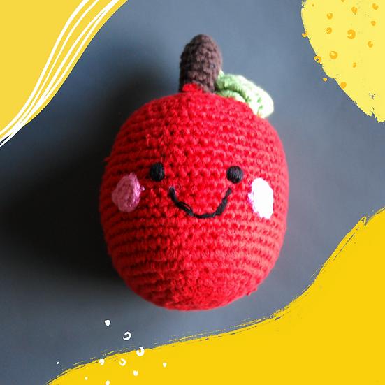 Pebble Fairtrade Cotton Apple Rattle Toy