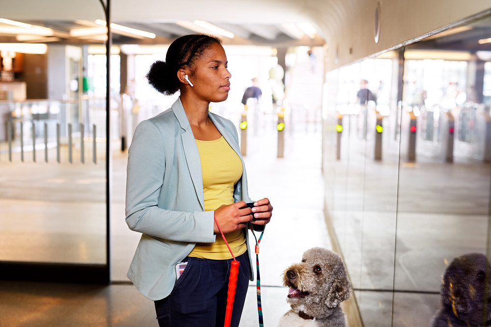 Woman holding a Hable One with a guide dog at Eindhoven Central Station