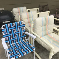 Grill and outdoor chairs