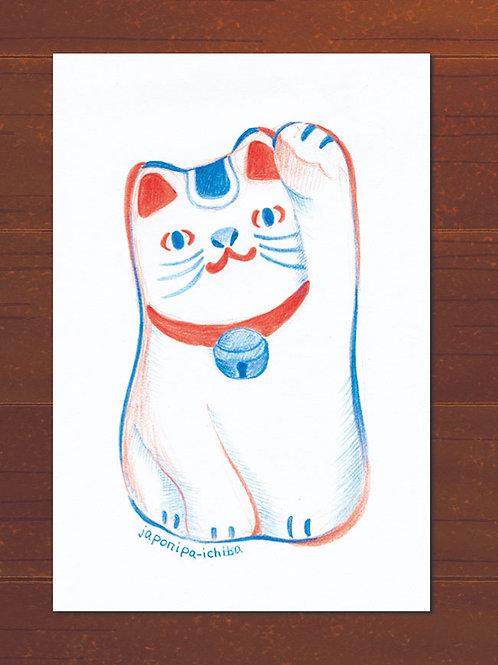イラストポストカード2枚セット(マネキニャンコ)