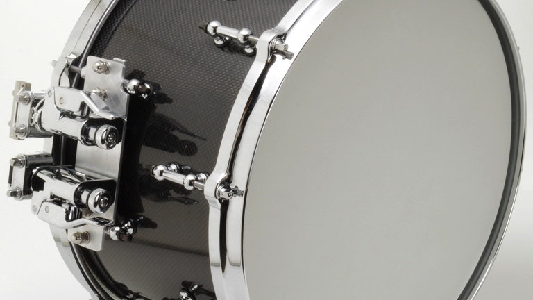 """8"""" x 14"""" Carbon Fiber Snare Drum with Dual Swivel Strainers on Floating Bridge"""
