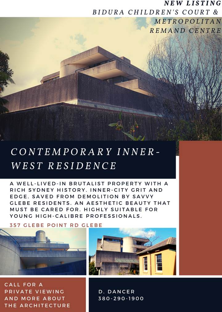 A well-lived-in Brutalist property with a rich Sydney history. Inner-city grit and edge. Saved from demolition by savvy Glebe Residents. An aesthetic beauty that must be cared for. Highly suitable for young high-calibre professionals!