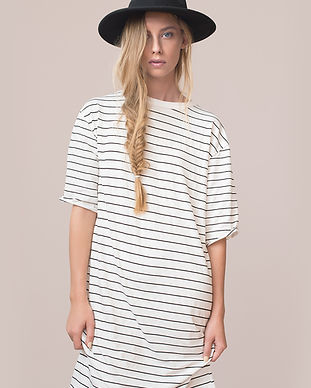 Model in Striped Dress