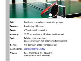 Welk team word in 2019 tafeltenniskampioen van Genemuiden?
