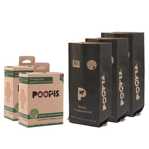Paquete1 (Hojas 2x1 + 3 Bolsas compostadoras)