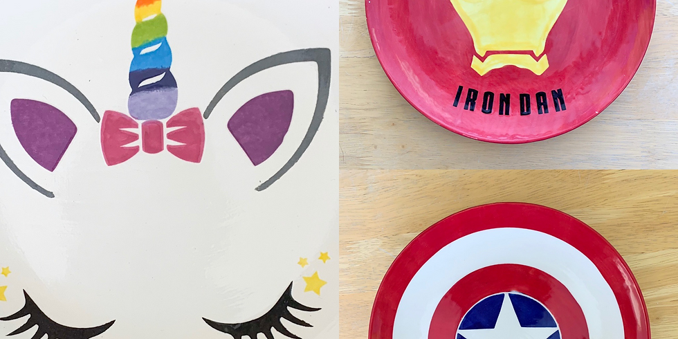Pottery Painting - Superhero/Unicorn Plate - 4pm