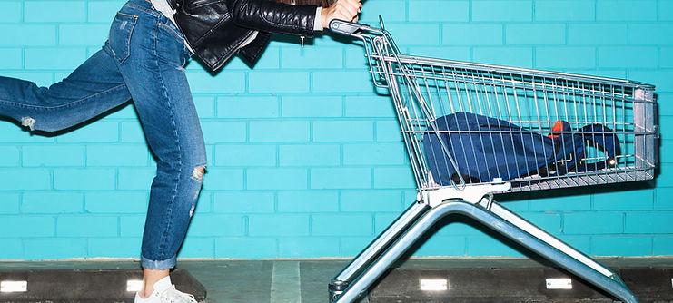 Woman Skateboard Shopping