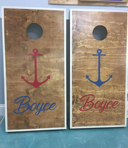 Cornhole boards for dayzzzzzz!! Custom anchor set complete with American flag bags (not shown) #Corn